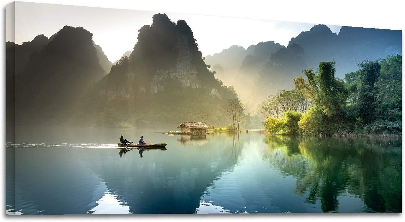 Looife Landscape Canvas Wall Art, 40x20 Inch Misty Boat on Green Lake with Mounatins Picture Prints Wall Decor for Living Room and Bedroom, Scenery Painting Wrapped Canvas Art Deco for Home