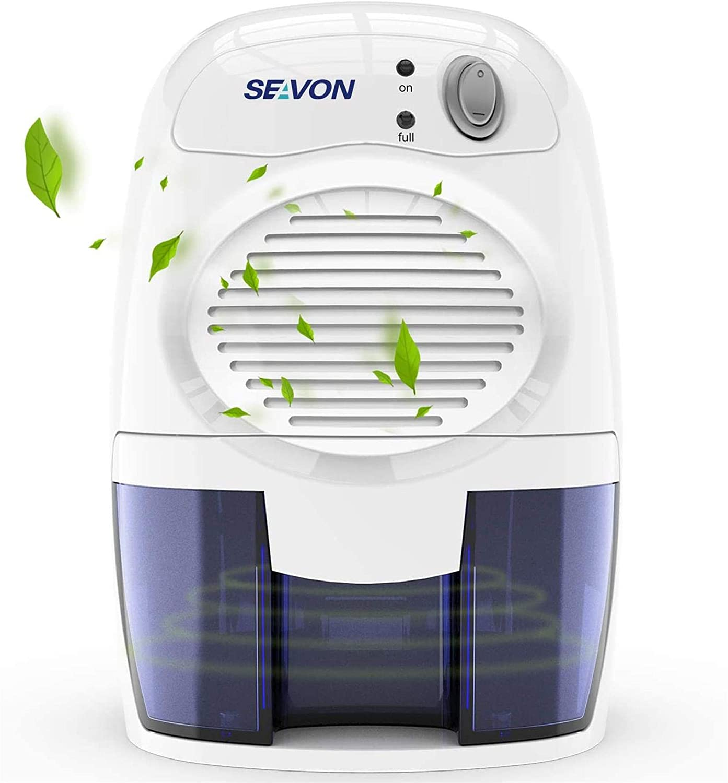 SEAVON 500ml Electric Portable Mini Dehumidifiers, 1500 Cubic Feet (170 sq ft) Ultra Quiet Compact Mini Dehumidifiers for Basement, Home, Bedroom,
