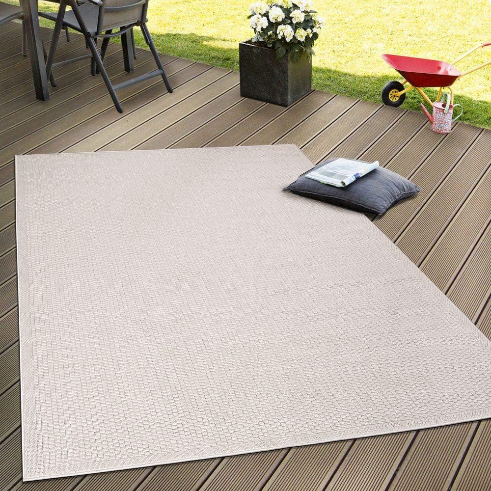 Paco Home Tappeto Tessitura Piatta Esterno E Interno Tappeti Terrazze Look Naturale Beige Dimensione:80x150 cm