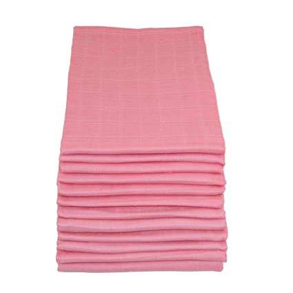 Pretty Pink,Pack of 12 Muslinz Premium High Quality Baby Muslin Squares