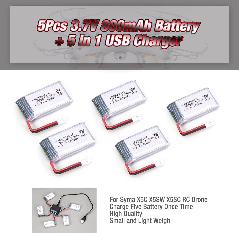 FairytaleMM 5 Unids 3.7 V 800 mAh Batería + 5 en 1 Cargador USB para Syma X5C X5SW X5SC RC Drone: Amazon.es: Juguetes y juegos