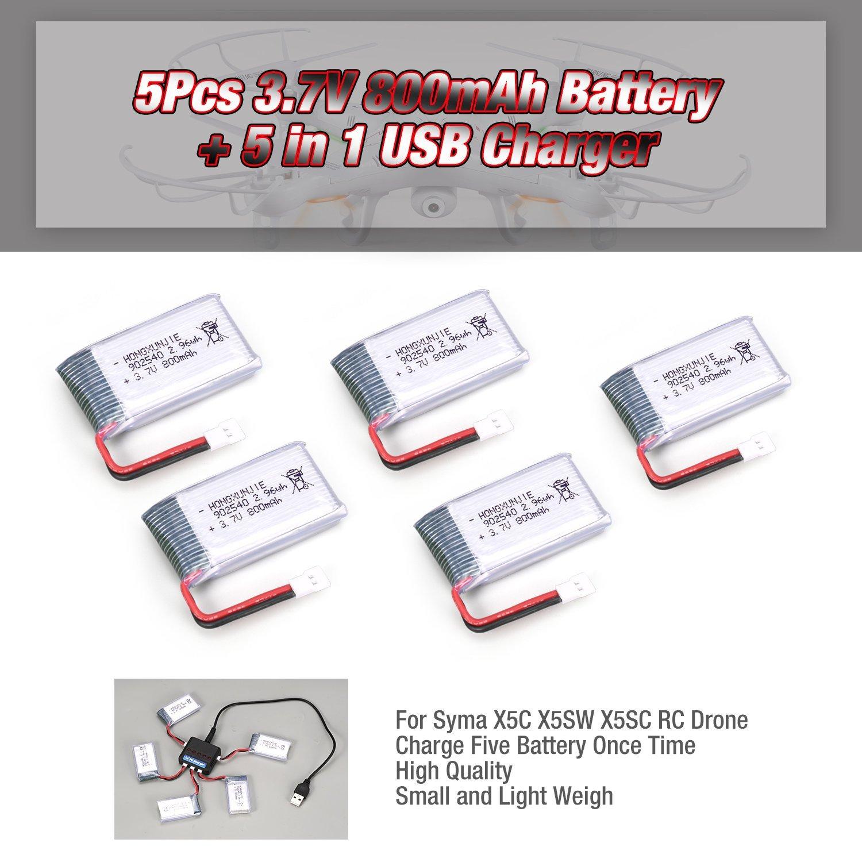 FairytaleMM 5 Unids 3.7 V 800 mAh Batería + 5 en 1 Cargador USB ...