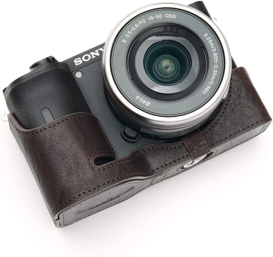 Green BolinUS Handmade Genuine Real Leather Half Camera Case Bag Cover for Sony Alpha A6600 Camera Bottom Opening Version A6600 Camera Case Hand Strap