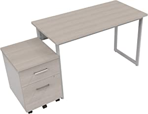 """Linea Italia 1 person Office Writing Desk & Mobile 2 Drawer File Cabinet Work at Home Bundle 
