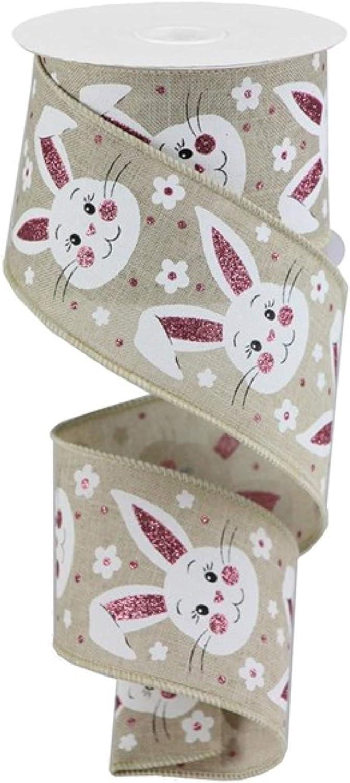 2.5 Bunny Face Glitter Ribbon: Natural Expressions Easter Wired Ribbon RGA154018 10 Yards