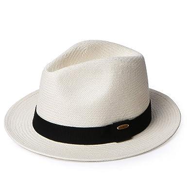4cc3d60637a3f Erigaray Panama Hats for Men Summer Sun Straw Hat Man Fashion Fedora Beach  Caps Beige