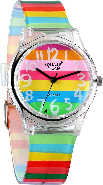 Avaner Reloj de Niña Mujer Reloj Analogico de Colores Arco Iris, Rainbow Reloj Transparente Correa de Silicona para Chicas, Buen