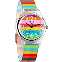 Avaner Reloj de Niña Mujer Reloj Analogico de Colores Arco Iris, Rainbow Reloj Transparente Correa de Silicona para…