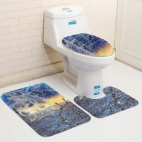 Keshia dwete tres piezas para inodoro asiento Pad personalizado colección náutica con impresión mandala patrones de