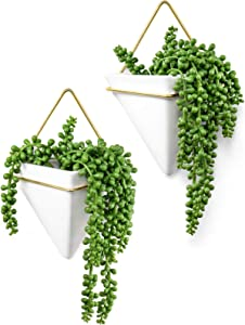 Dahey Geometric Wall Planter Hanging Vase with Artificial Succulent Plants Fake String of Pearls Modern Ceramic Wall Decor for Indoor Outdoor Home Office Garden, 2 Pack