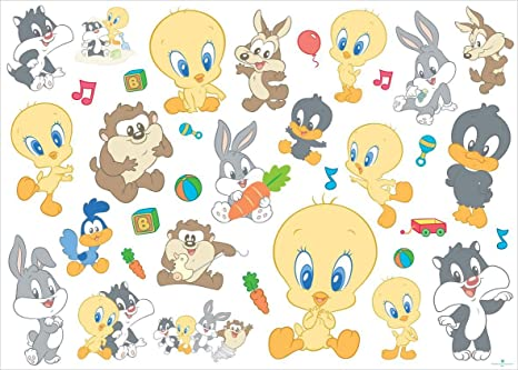 Adesivi Murali Looney Tunes.Baby Looney Tunes 35 Pezzi Differents Wall Stickers Amazon It Casa