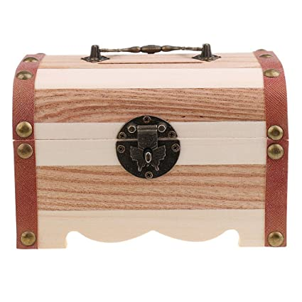 Amazon.com: Willcomes Wooden Money Storage Box Treasure Chest Piggy Bank Handmade Jewelry Organizer With Lock and Two Keys: Home & Kitchen