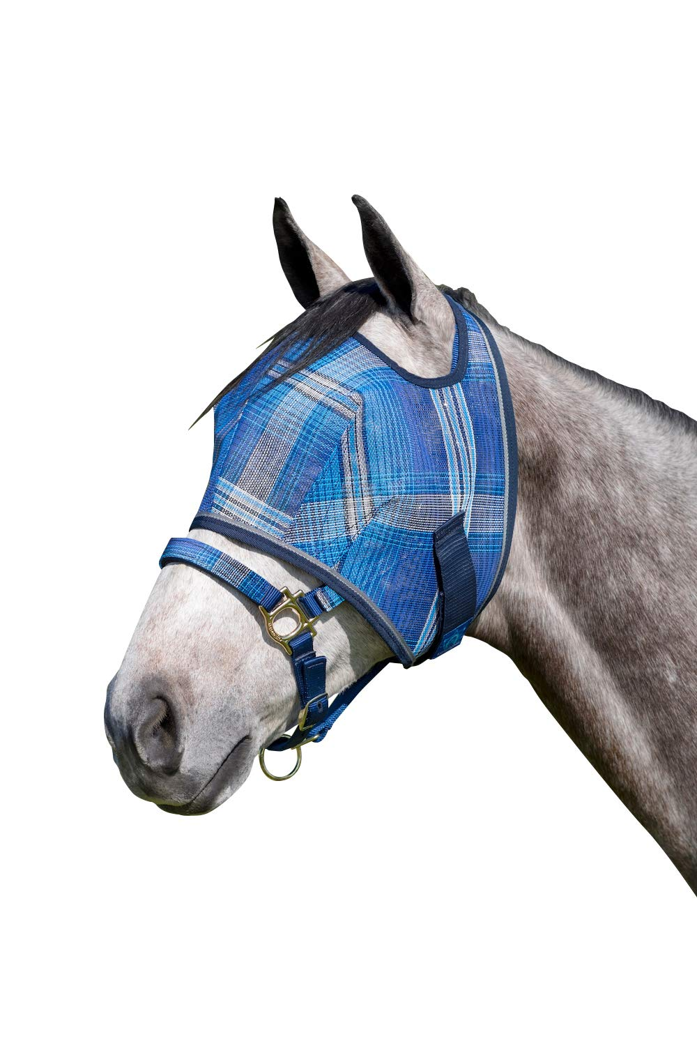 Kensington Fly Mask Web Trim - Protects Horses Face and Eyes from Biting Insects and UV Rays While Allowing Full Visibility - Ears and Forelock Able to Come Through The Mask (Medium, Kentucky Blue)
