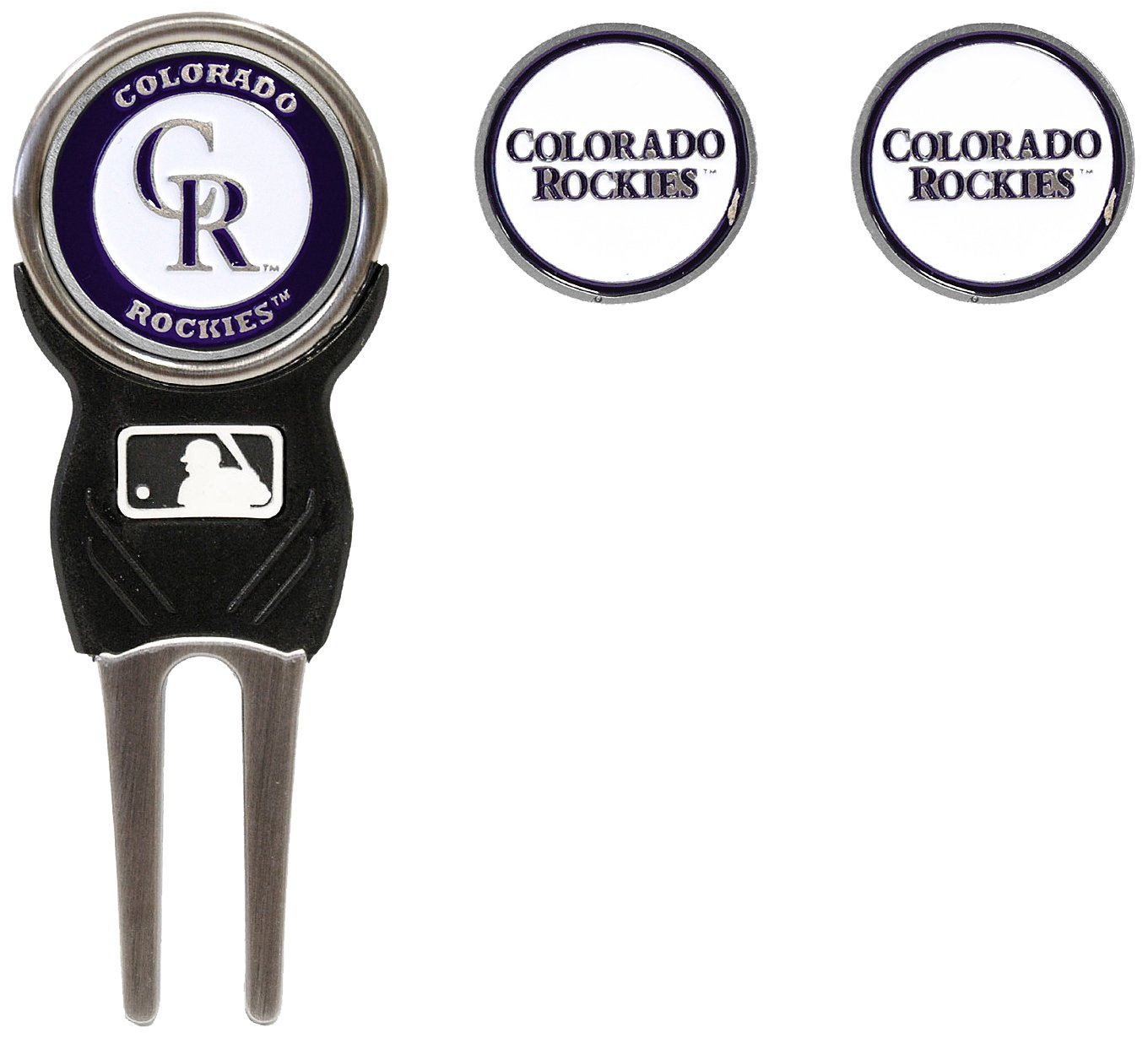 MLB Colorado Rockies Divot Tool Pack With 3 Golf Ball Markers by Team Golf (Image #1)