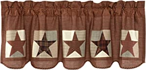 VHC Brands Country Memorial Day Kitchen Curtains Abilene Patch Block Rod Pocket Cotton Appliqued Textured Star 20x60 Valance, Burgundy Red