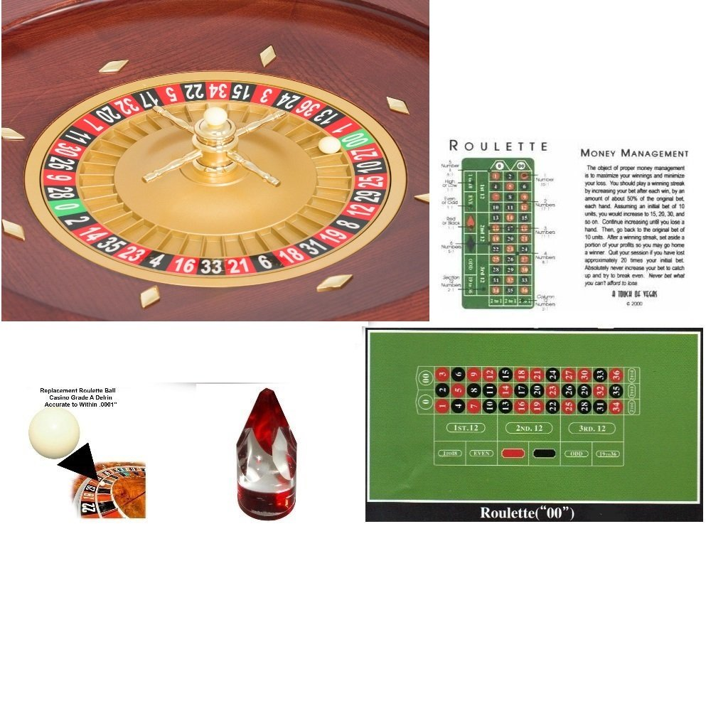 Roulette Wheel 20 Inch Satin Mahogany Wood Wheel with Marker, Layout, Strategy Card & Balls
