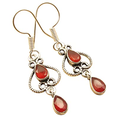 bfe4f6695 Amazon.com: Red CARNELIAN Vintage Style Earrings 1 3/4