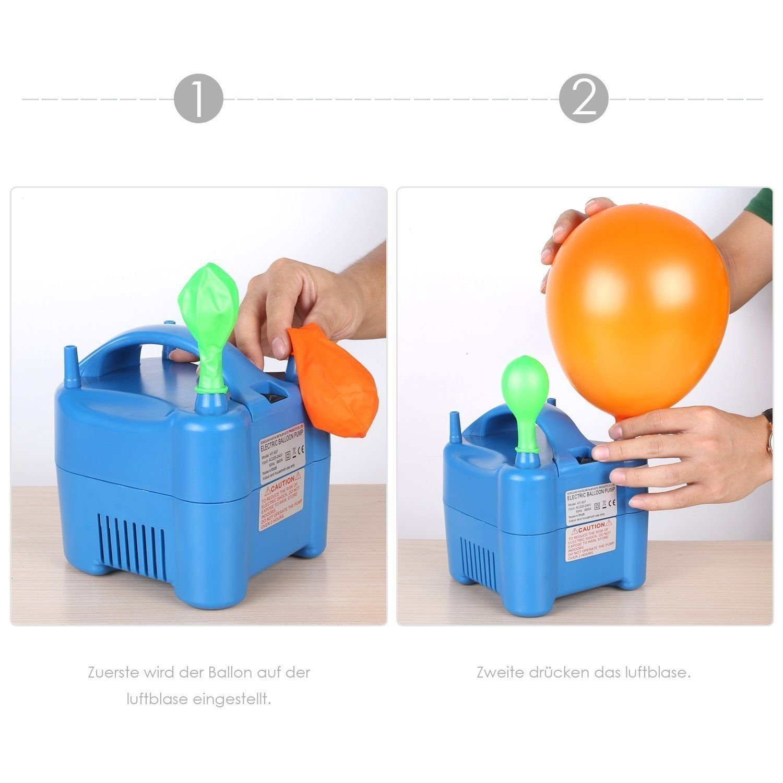 Amzdeal Inflador de globos electrico 680W para inflar globos hinchador electrico bomba para fiestas Alta potencia Color azul [Clase de eficiencia ...