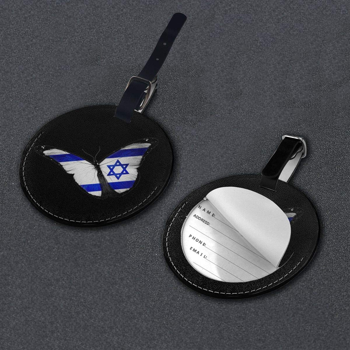 Simoner Israeli Flag Butterfly Round PU Leahter Luggage Tags Privacy Protection Travel Bag Labels Suitcase Tags