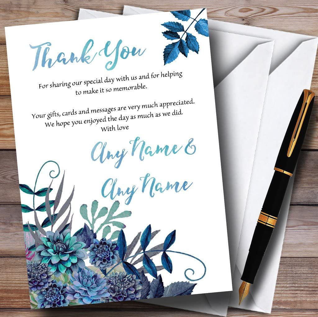 Aqua Green /& Blue Watercolour Florals Personalized Wedding Thank You Cards