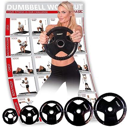POWRX Discos olímpicos 10 kg Set (2 x 5 kg) - Pesas Ideales para ...