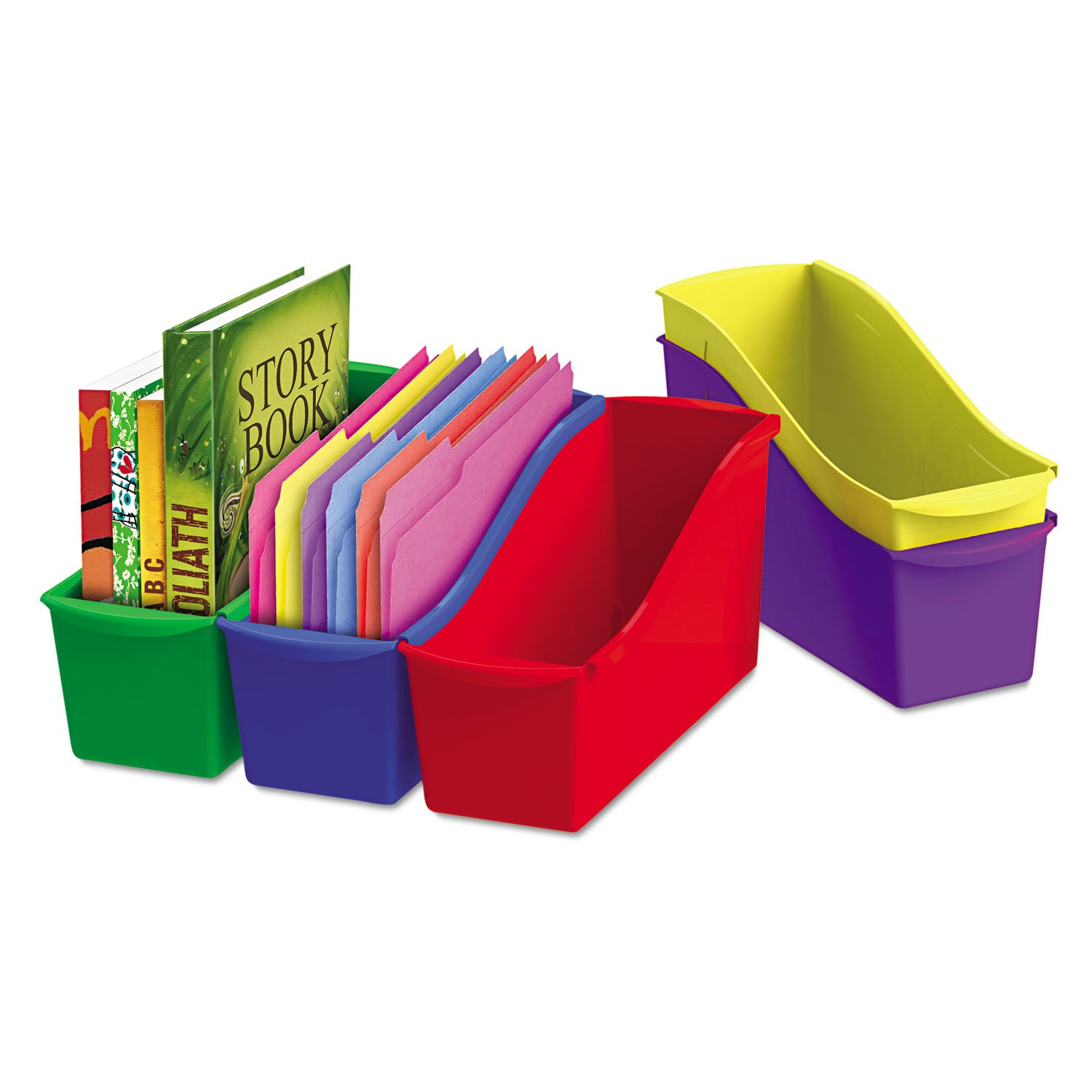 Storex Interlocking Book Bins, 5 1/3 W x 14 1/3 L x 7 H, 5 Color Set, Plastic (70105U06C) Essendant B2B