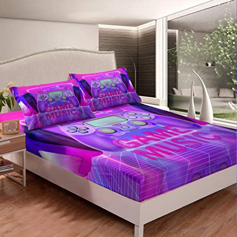 Amazon Com Nursery Gamer Fitted Sheet Twin Size Video Games Bed Cover For Kids Teen Boys Girls Purple Modern Gamepad Bedding Set Headphone Game Music Bedclothes Fashion Child Gaming Room Decor 2pcs Red