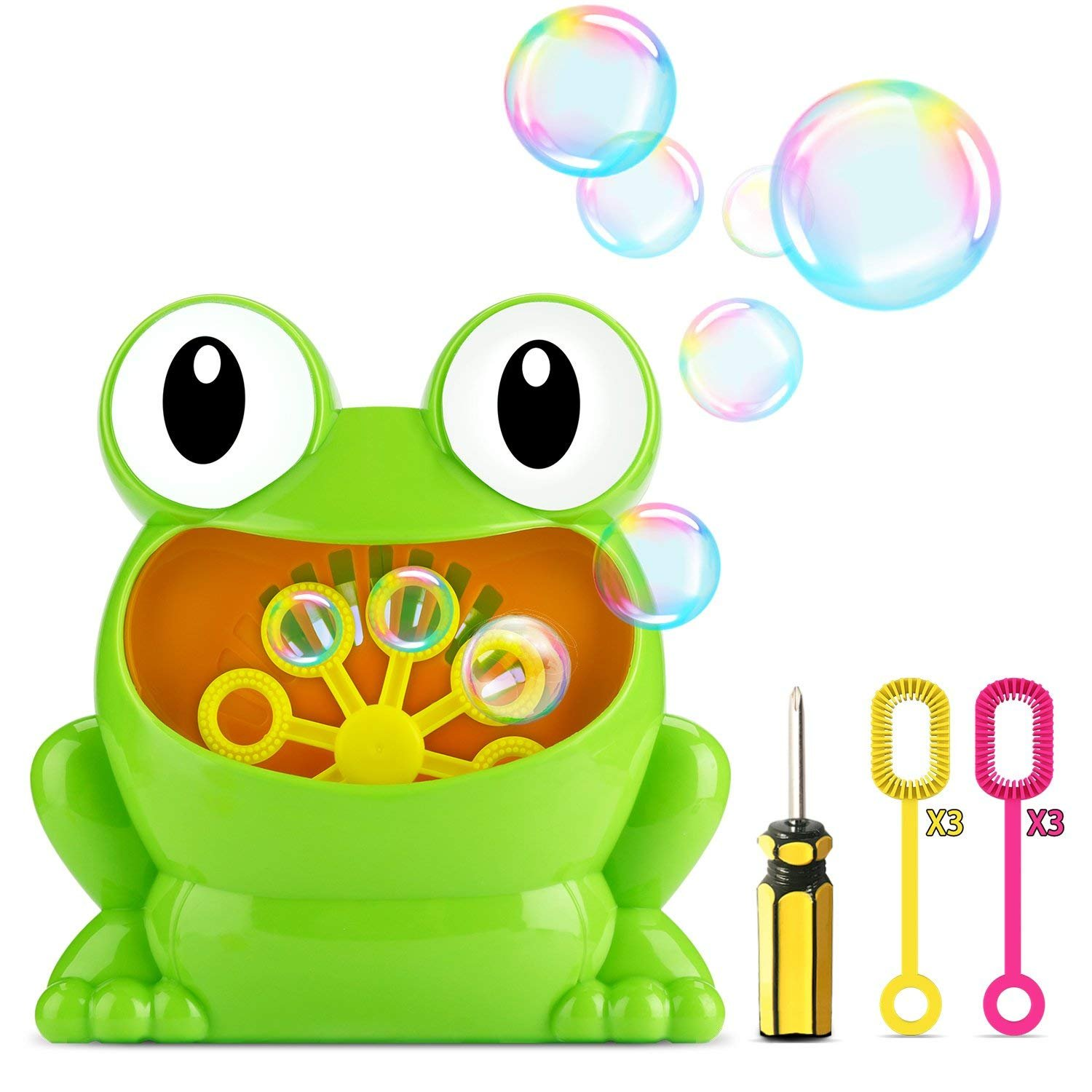 Fansteck Bubble Machine for Kids, Frog Bubble Machine Lovely Design Durable Automatic Bubble Maker, High Output Over 500 Bubbles per Minute, with Six Extra Manual Bubble Wands , Nontoxic, Easy to Use