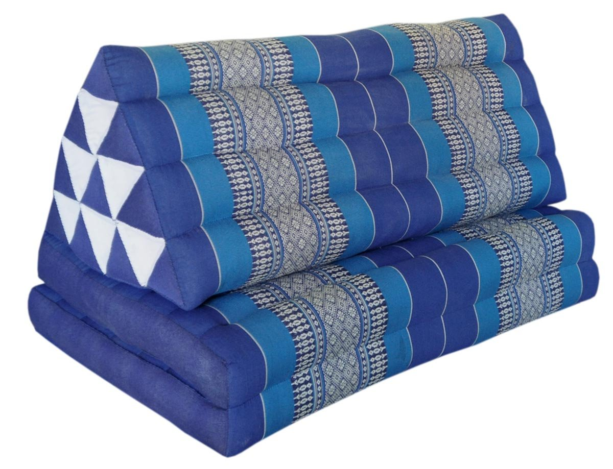 Thai triangle cushion XXL, with 2 folding seats, blue, sofa, relaxation, beach, pool, meditation, yoga, made in Thailand. (82217) by Wilai GmbH