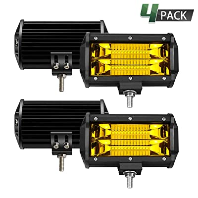 TURBO SII Led Light Bar 5 Inch 4PCS 288W Led Work Lights Waterproof S/F Combo Off Road Pod Lights Yellow Snow Driving Fog Light Lamps For Jeep Trucks ATV UTV Polaris SUV Boat Car 4WD Golf Cart: Automotive