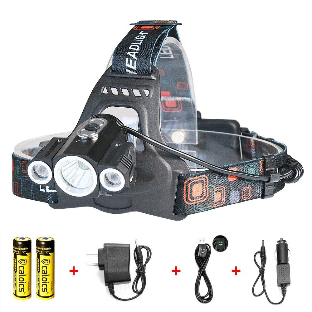 27e56d3be29eef Caloics Headlamp 4000 Lumens with 1 XML T6 LED Light Super Bright Flashlight  for Hunting,
