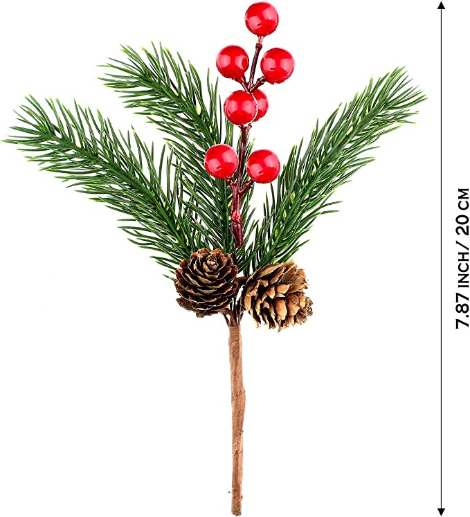 12 Tofytiy 12 Pieces White Christmas Berry Stems Pine Branches Sprays Artificial Pine Picks with Pinecones for Holiday Crafts Xmas Decorations Winter D/écor
