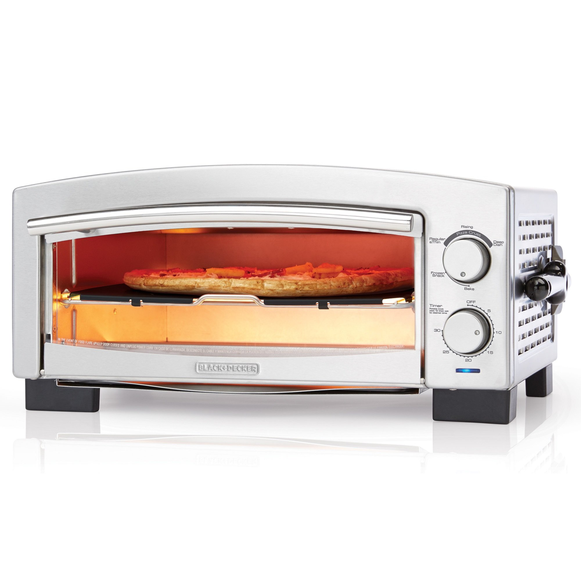 BLACK+DECKER P300S 5-Minute Pizza Oven & Snack Maker, Pizza Oven, Toaster Oven, Stainless Steel