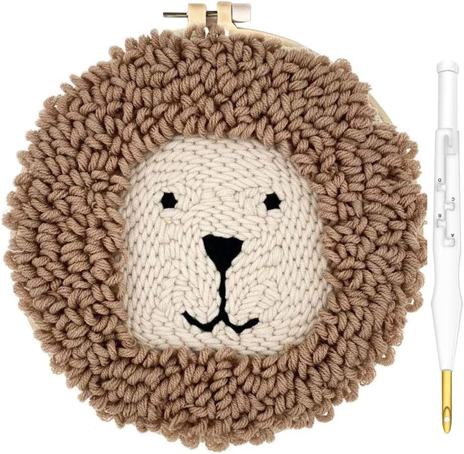 kuosbiu Punch Needle Kits 30 Pieces Embroidery Tools Adjustable Rug Yarn Punch Needle Wooden Handle Embroidery Pen Hoops Threaders Punch Needle Cloth Thimble for DIY Sewing