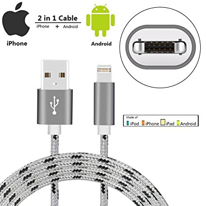 IPhone Lightning Cable / Micro USB Dual Charging Cable,SzHahn 2 In 1  Braided Charger