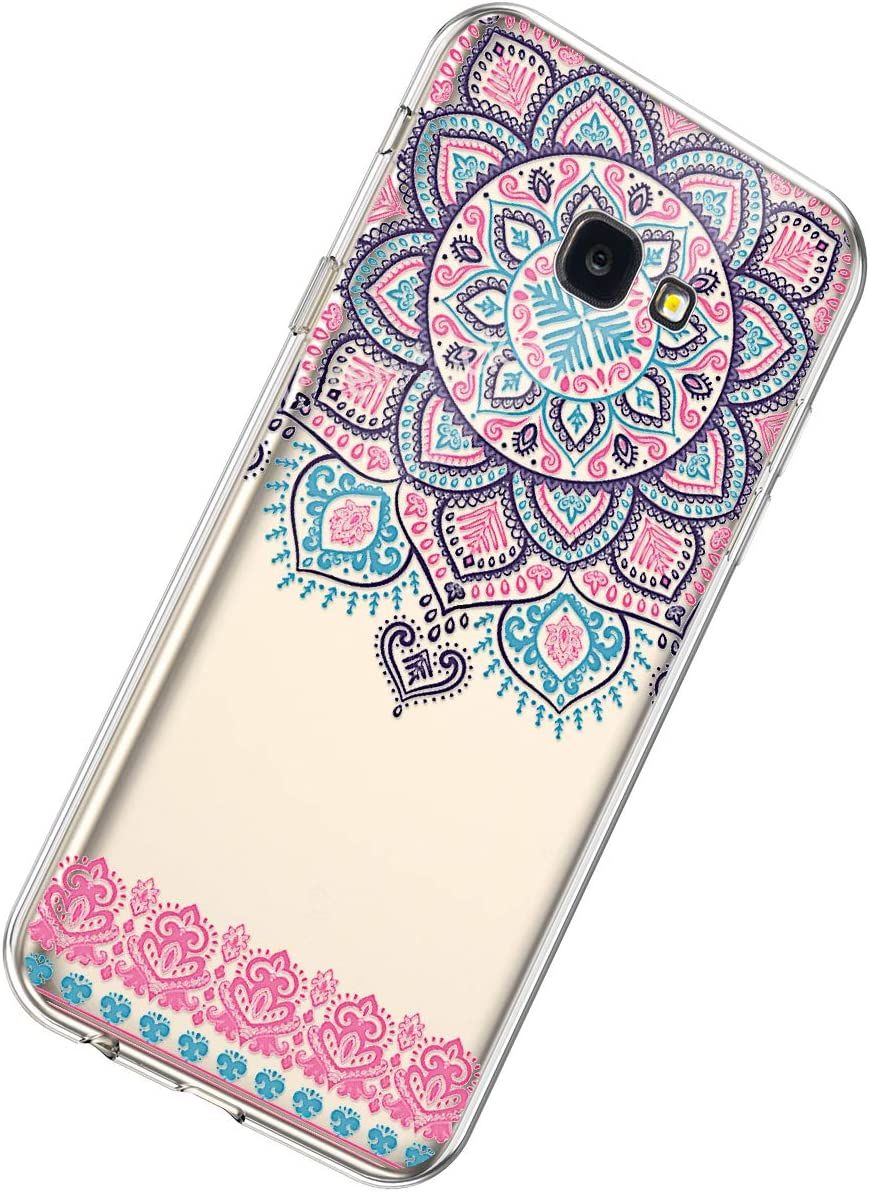 Herbests Compatible with Samsung Galaxy J4 Plus 2018 Case TPU Silicone Case Rubber Soft TPU Cover with Mandala Floral Design Transparent Shockproof Bumper Protective Case,Pink Sunflower