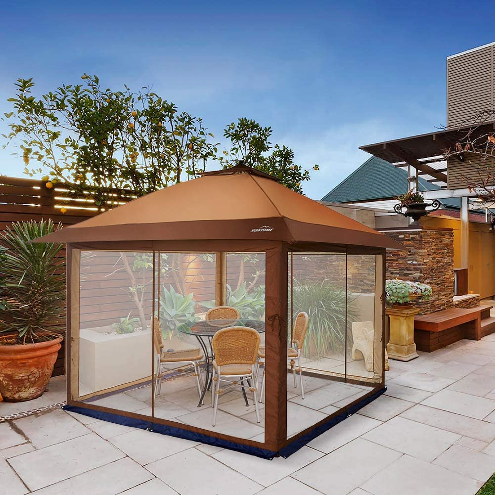 Outdoor Garden Grill Gazebo with Mosquito Netting and Solar Led Light Pop Up Gazebo for Patios Large Garden Top Canopy Shelter