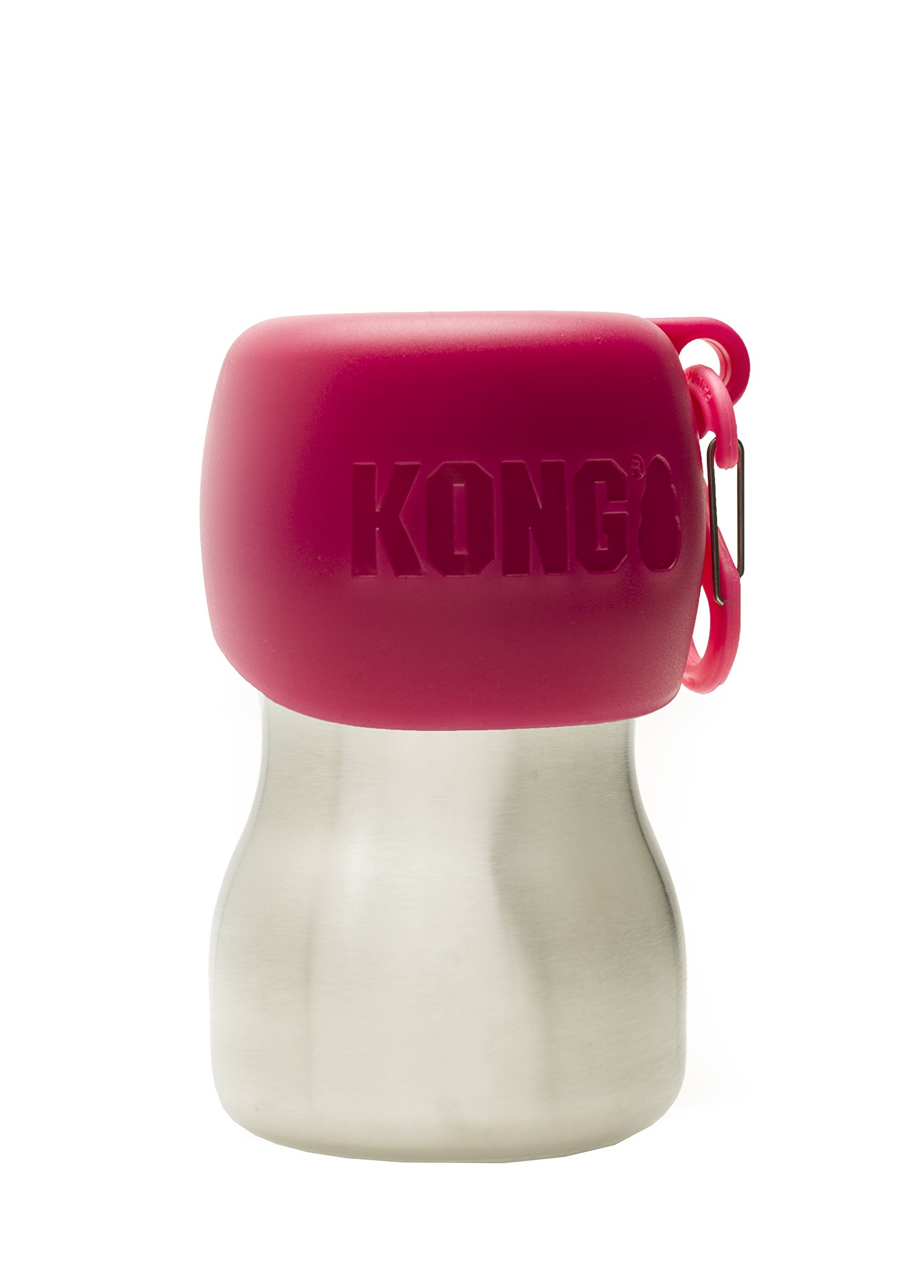 KONG H2O - Stainless Steel Dog Water Bottle - 9.5 oz - Pink