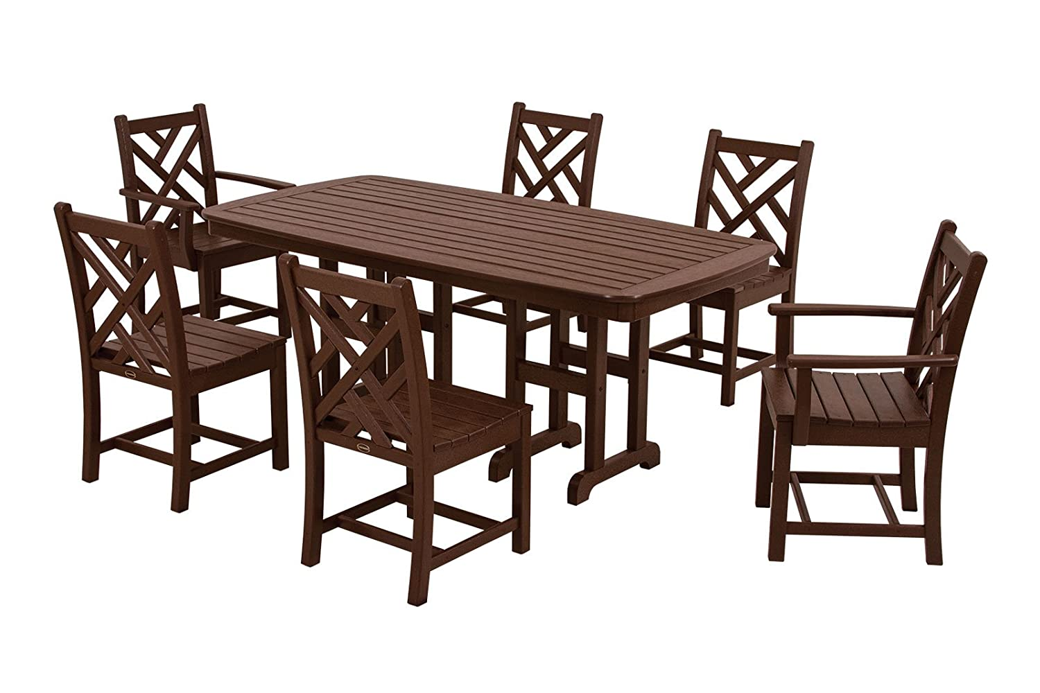 POLYWOOD PWS121-1-MA Chippendale 7-Piece Dining Set, Mahogany