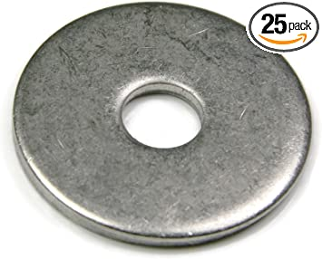 """Lot of 50 .0625 Stainless Flat Fender Washers 3//8/"""" x 1-1//2/"""" OD x 1//16 Thick"""