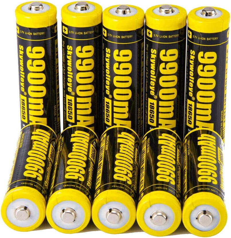 20 PCS of Authentic,Yellow 9900mAh 3.7V Li-ion,Button Top,Rechargeable,Replacement For 18650-Flashlight-Headlights-Battery,For LED Flashlight Headlights