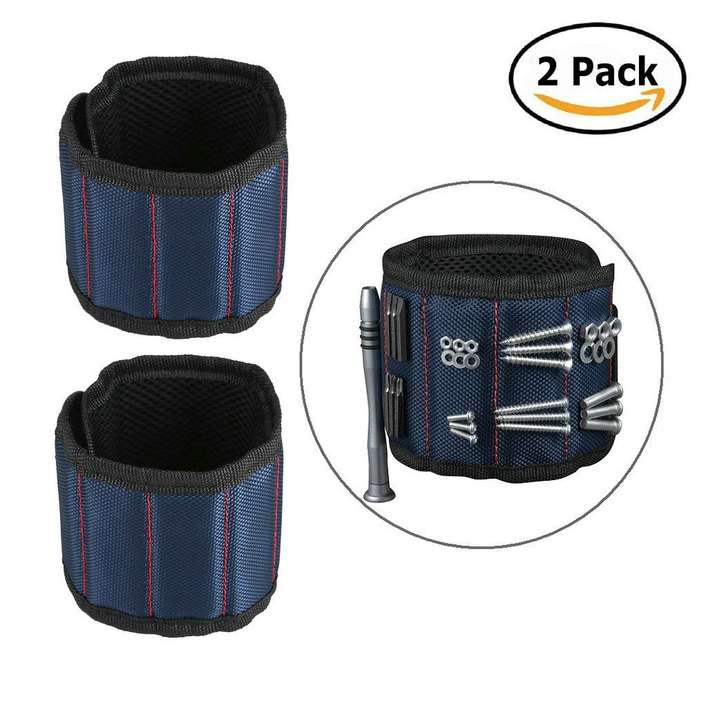 GuDoQi 2 Pack Magnetic Wristband Tool Belt with 10 Strong Magnets for Holding Metal Nail Bolts Drilling Bits, Screws (Blue)