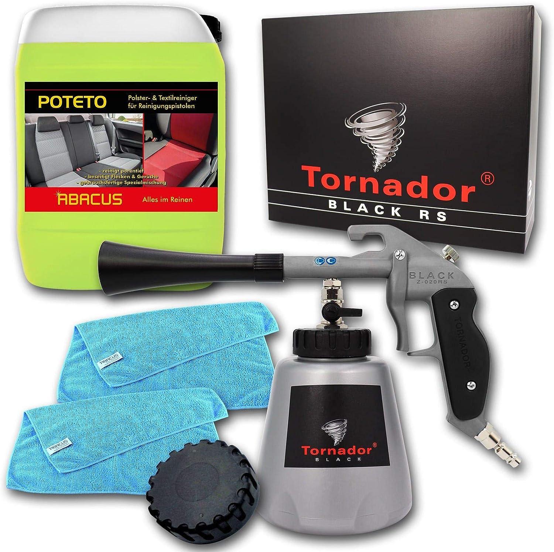 Abacus Tornador Black Z 020rs Modell 2019 Textil Polsterreinigungs Set Mit 5 Liter Kanister Poteto Mikrofasertüchern 7424 2 Auto