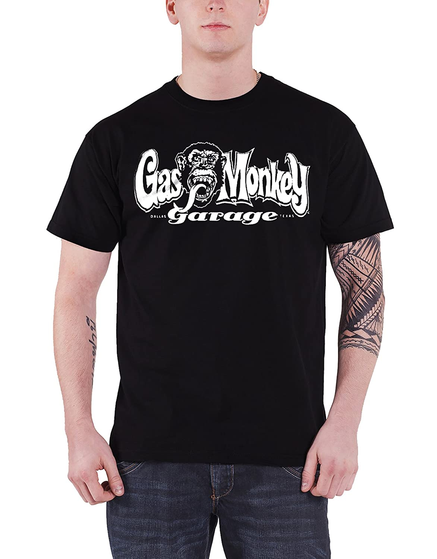 Gas Monkey Garage T Shirt GMG Dallas Texas nouveau officiel Homme Noir