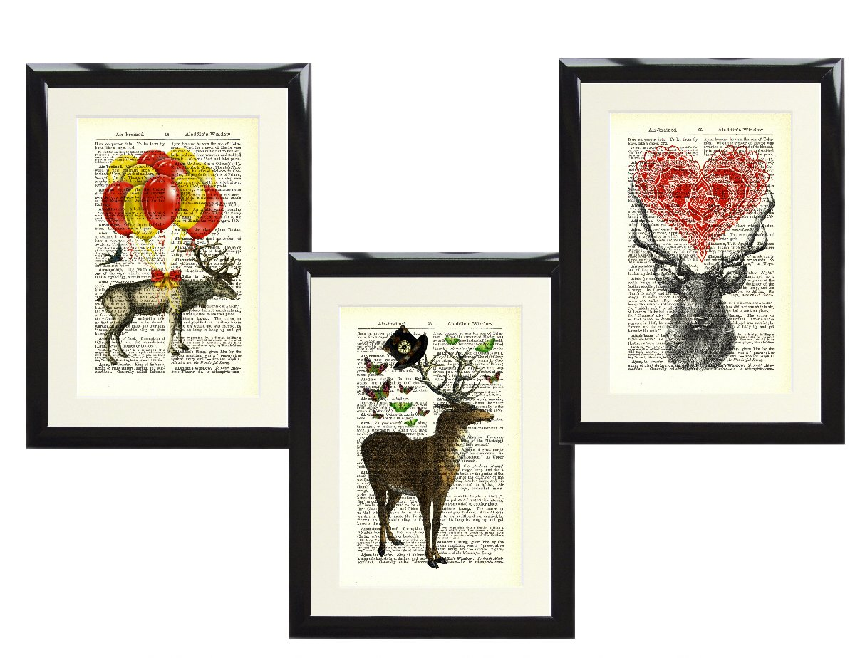 DEER ANIMAL ART PRINT PICTURE VINTAGE ANTIQUE DICTIONARY STYLE BOOK PAGE STAG