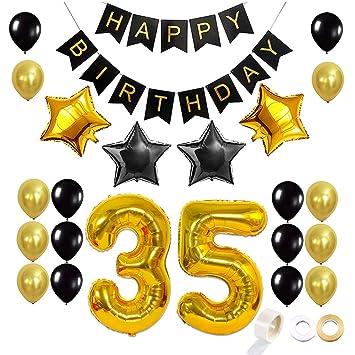 Juland Dorado y Negro 35 Globos de cumpleaños Conjunto Kit de decoración de artículos de Fiesta Feliz cumpleaños Banner Globo de Latex Decoracion Foil ...