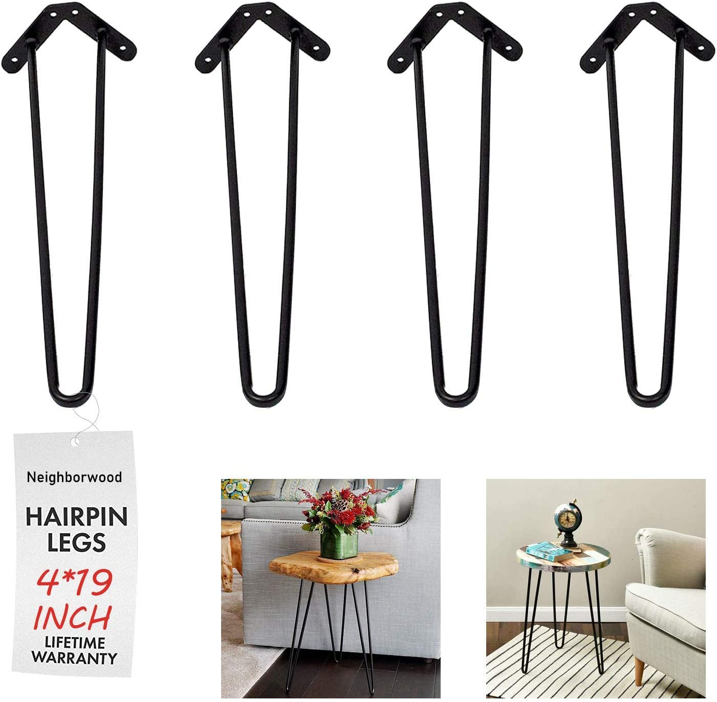 """NXN-HOME 19"""" Heavy Duty Hairpin Coffee Table Legs (Set of 4), 2/5"""" Thick, Black"""