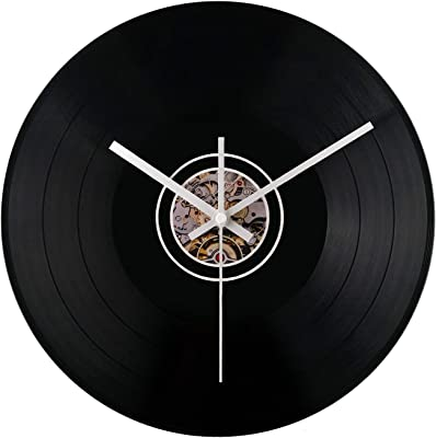E-LU Vinyl Record Black Wall Clock, Silent Non Ticking Quality Quartz Battery Operated Decorative for Kitchen, Living Room, Bathroom, Bedroom, Office(12 inch)