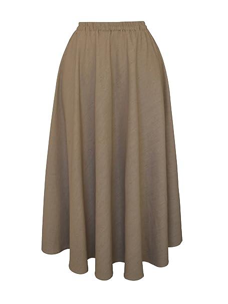 2426b34e0f Maxi Falda Larga de Mujer de Lino Cintura elástica Color sólido Bolsillo   Amazon.es  Ropa y accesorios