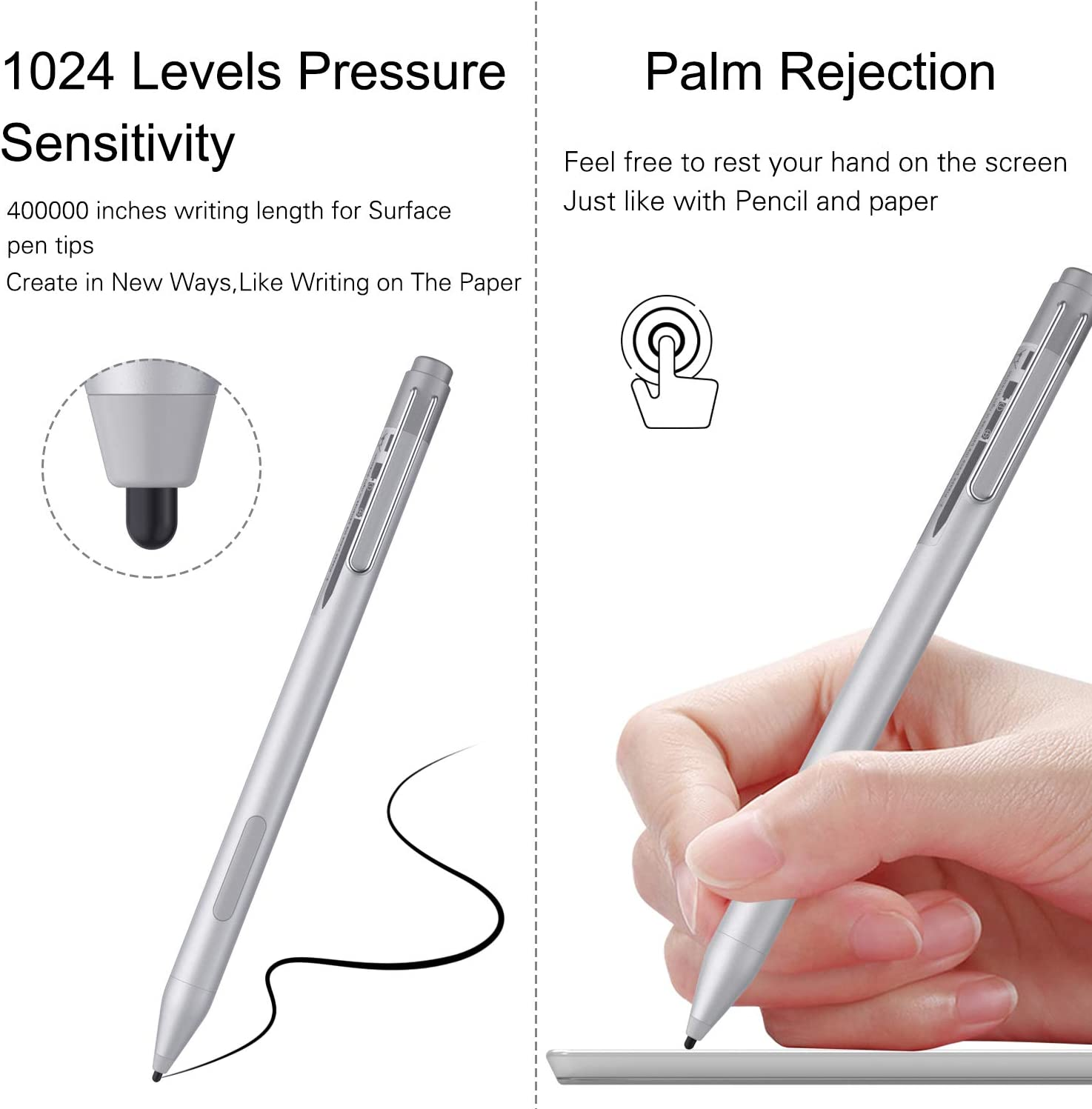 Zspeed Stylus Pen Compatible with Surface Pen Touch Screen Pen Capacitive Rechargeable Styli with MICROSOFT,ASUS,DELL,HP,Acer and Others